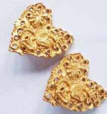 RESERVED CHRISTIAN LACROIX Gold  Plated Heart Earrings w Raised HEART/SUNBURST