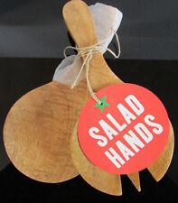 Jamie Oliver JME Hand-carved Wooden Salad Hands Servers 20x10cm NEW