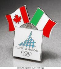OLYMPIC PIN 2006 TORINO ITALY & CANADA DUAL FLAGS
