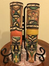 2 Tribal Wood Wall Mask Hand Carved Painted Home Decor Africa Vintage 9""