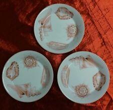 Set of 3 FITZ & FLOYD Coquille Sea Shell Dessert Bowls/Saucers Peach Ocean Beach