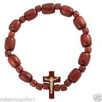 New Wood Beads Catholic Religious Elastic Stretch Bracelet,Gold Imprint Crucifix
