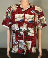 Vintage Hawaiian Shirt! Red Hibiscus Floral Aloha Button Up Made In Hawaii Large