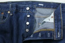 Levis 501 Mens Classic Button Fly Dark Wash Blue Jeans Size 40x32