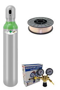 Schweißset Gasflasche Schutzgas 8 Liter ARGON + CO2 Druckminderer Schweißdraht