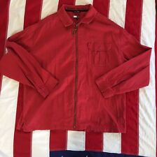 Men's Vintage Tommy Hilfiger Red Leather Zip Up Classy Shirt Size XXL