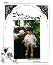 """Sew Adorable Doll Clothes Pattern, fits 18"""" American Girl, Lingerie Collection"""
