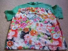 70s 80s vintage retro Nadine H green floral linen blouse shirt top 38 10 12