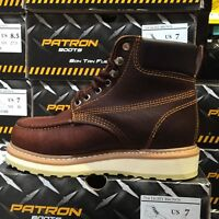 MEN'S WORK BOOTS MOC TOE GENUINE LEATHER LACE UP SAFETY BROWN BOTAS