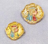 Antique Victorian RARE Gold filled Egyptian Revival Pharaoh Bust Enamel Pins Set