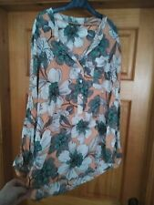 Next floral print longline tunic style shirt/roll-up sleeves-UK 18