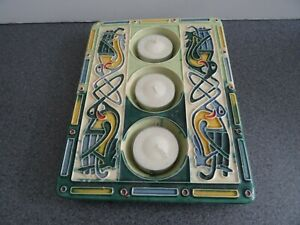 Clara Ceramic Triple Votive Holder Celtic Pattern