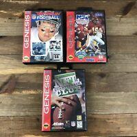 Sega Genesis NFL Football Lot Of 3 Troy Aikman NFL Quarterback Club Football 94