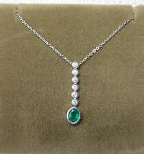 Emerald Diamond Necklace Wedding Engagement 14K White Gold Classic Antique