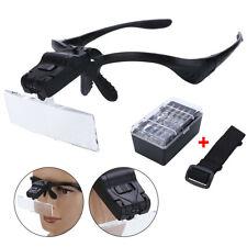 LED Lamp Headset Headband Magnifying Glass Head Light Jeweler Magnifier Loupe !