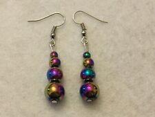 Stunning Handmade Rainbow Hematite Graduated Drop Earrings Brand New