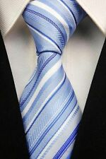 GIFTS FOR MEN Classic Mens Multi Stripe Silk Necktie Formal Tie Light Blue White