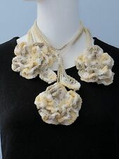 New Handmade Crochet Yellow Flower Scarf Necklace Lariat