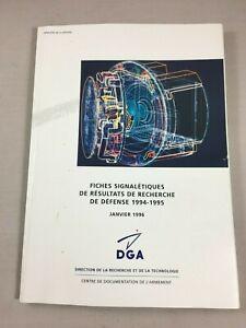 Catalogue de fiches signalétiques recherche armement DGA Ministère Défense 1996