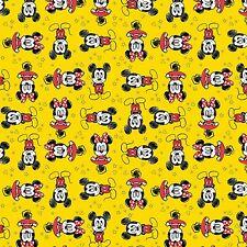 Camelot Mickey Mouse & Friends - Sunshine Mickey & Minnie Cotton Fabric BTY  I3