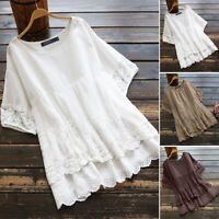 Women Cotton Vintage Summer Top Layered Floral Lace Casual Tee Shirt Blouse Plus