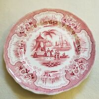 "19th C. English Staffordshire Red Transferware Palestine Plate by Adams 8-5/8"" d"