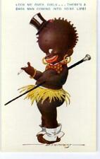 BLACK COMIC DANDY w/ TOP HAT, SPATS, CIGARETTE, CANE by TEMPEST ca1920s Bamforth