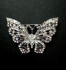 Crystal Metal Alloy Butterfly Invitation Silver Brooch
