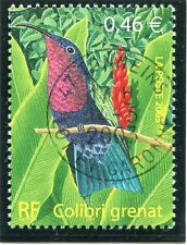 TIMBRE FRANCE OBLITERE N° 3550 FAUNE / COLIBRI GRENAT / Photo non contractuelle