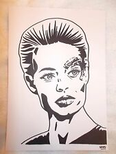 A4 Black Ink Marker Pen Sketch Drawing Jeri Ryan as Seven of Nine from Star Trek