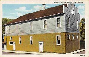 Masonic Temple French Lick Indiana linen postcard