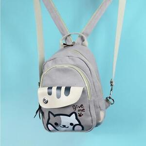 Girl's Anime Neko Atsume Cute Cats  Cartoon Backpack Canvas Small Bookbag Grey
