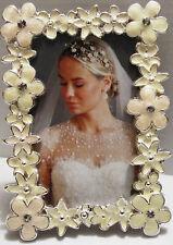 2X3 Off White Silver Cream Bejeweled Flower Enamel Frames