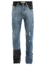 ALEXANDER MCQUEEN Washed Indigo Relaxed Jeans 30x33 Faux Leather Patchwork $445