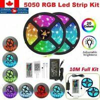 10M LED Strip Lights 5050 RGB Color Changing 44 Keys IR Remote 12V 10A Adapter