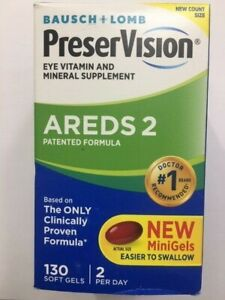 PreserVision Eye AREDS 2  Soft Mini Gels 120 +10=130 Count box EXP 06/2021 #7702