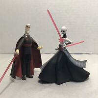 Star Wars Clone Wars 2003 Animated Count Dooku, Asajj Ventress Figures, 3.75 In.