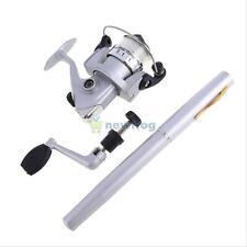Portable Pocket Pen Shape Mini Aluminum Alloy Fishing Rod Pole+Reel Line Silver