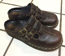 Dr Doc Martens Mary Jane open back Clogs England Brown Leather US 7 3A23