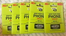 Lot of 5 Straight Talk Sim Card Gsm Phones At&T T-Mobile Network Activation Kit