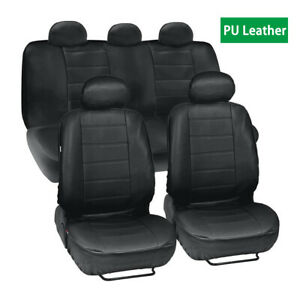 Black PU Leather Seat Cover Cushion Protector  Front +  Rear 5-seat For Car SUV