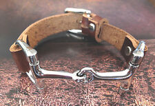 Horsebit Leather Bracelets for Women, Mens Leather Braclets, Silver Horsebit