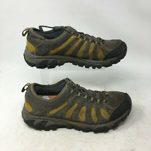 Merrell Trail Hiking Slip On Sneaker Low Top Lock Lace Up Leather Brown Mens 8.5