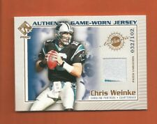 2002 PRIVATE STOCK CHRIS WEINKE GAME-WORN PATCH #d 032/102 CAROLINA PANTHERS