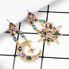 Women 1 Pair Asymmetric Star Moon Crystal Drop Dangle Ear Stud Earrings Jewelry