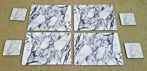 WHITE & GREY MARBLE EFFECT 4 Placemats & Coasters Set Cork Backed EXCELLENT COND