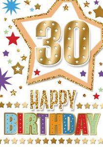Happy 30th Birthday. Fun Star Design Card For Age 30 Male