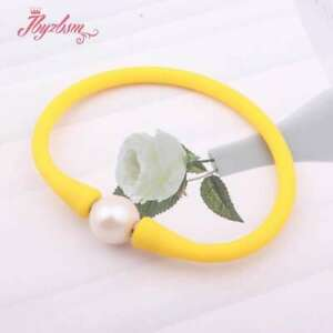 """10mm Round Freshwater Pearl Yellow Casual Waterproof Silicone Bangle Bracelet 7"""""""