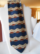 XMI for NORDSTROM Hand Sewn All Silk Blue / Beige / Brown Novelty Print Tie