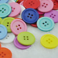 50/100pcs Mix Color Plastic Circle Button 4 Holes DIY Craft Sewing 25mm PT13
